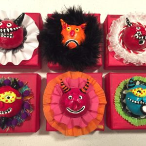 Whimsical devil heads